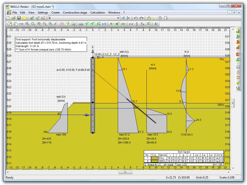 FIDES DV-Partner: WALLS-Retain - Calculation of Retainment walls due